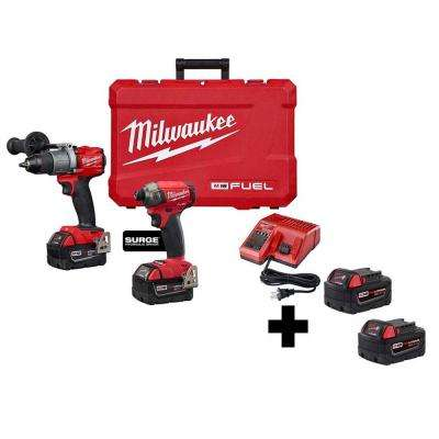 M18 FUEL 18-Volt Lithium-Ion Brushless Cordless Surge Impact/Hammer Drill Combo Kit with 2 Free 5.0 Ah Batteries