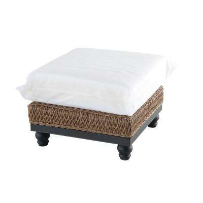Camden Light Brown Wicker Outdoor Ottoman with Cushions Included, Choose Your Own Color