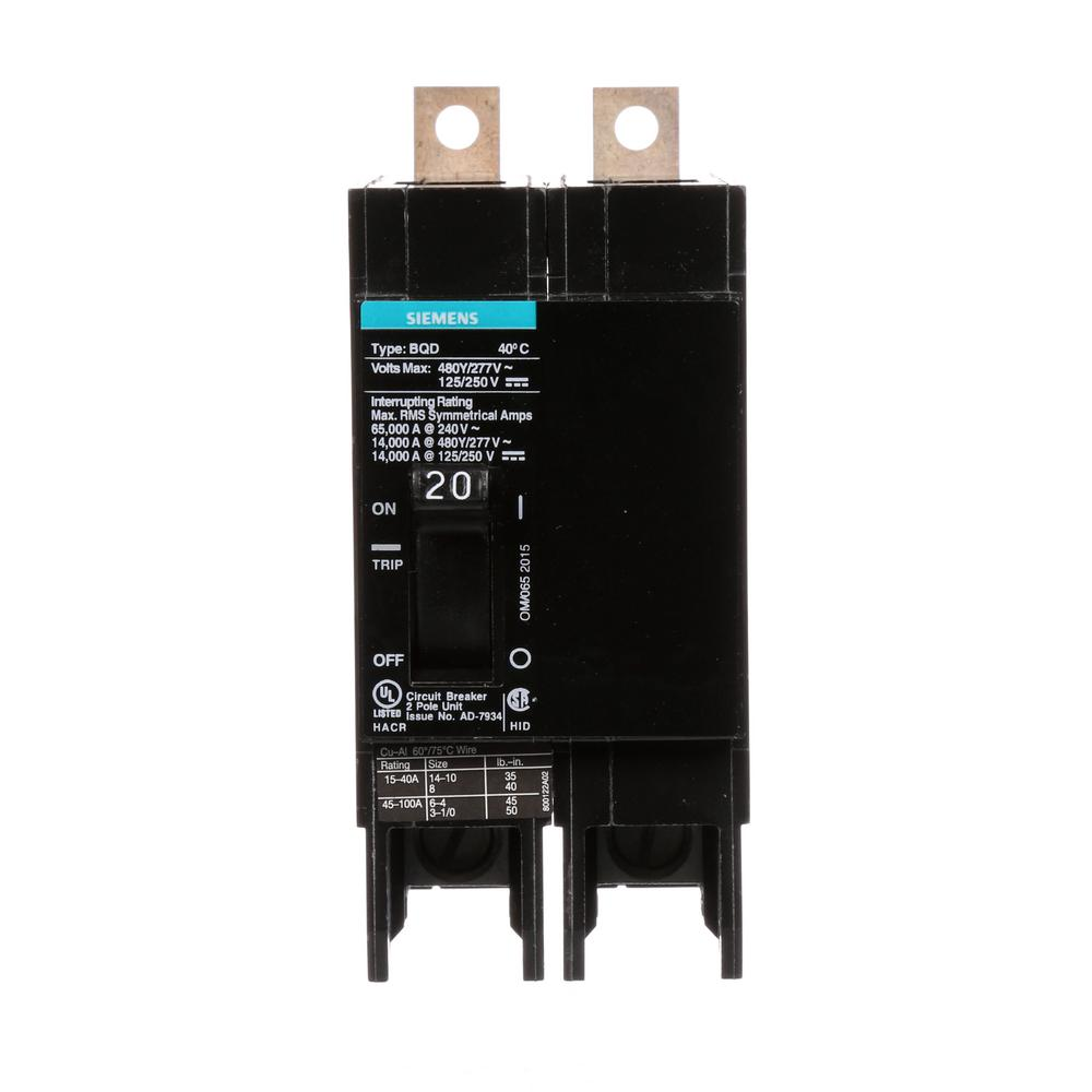 Siemens 20 Amp Double-Pole Type BQD Bolt-On Circuit Breaker-BQD220 ...