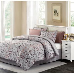 Brown Grey Jean 6 Piece Twin Bed In A Bag Set
