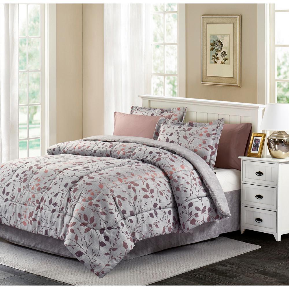 Jean 8-Piece Grey Queen Bed in a Bag Set