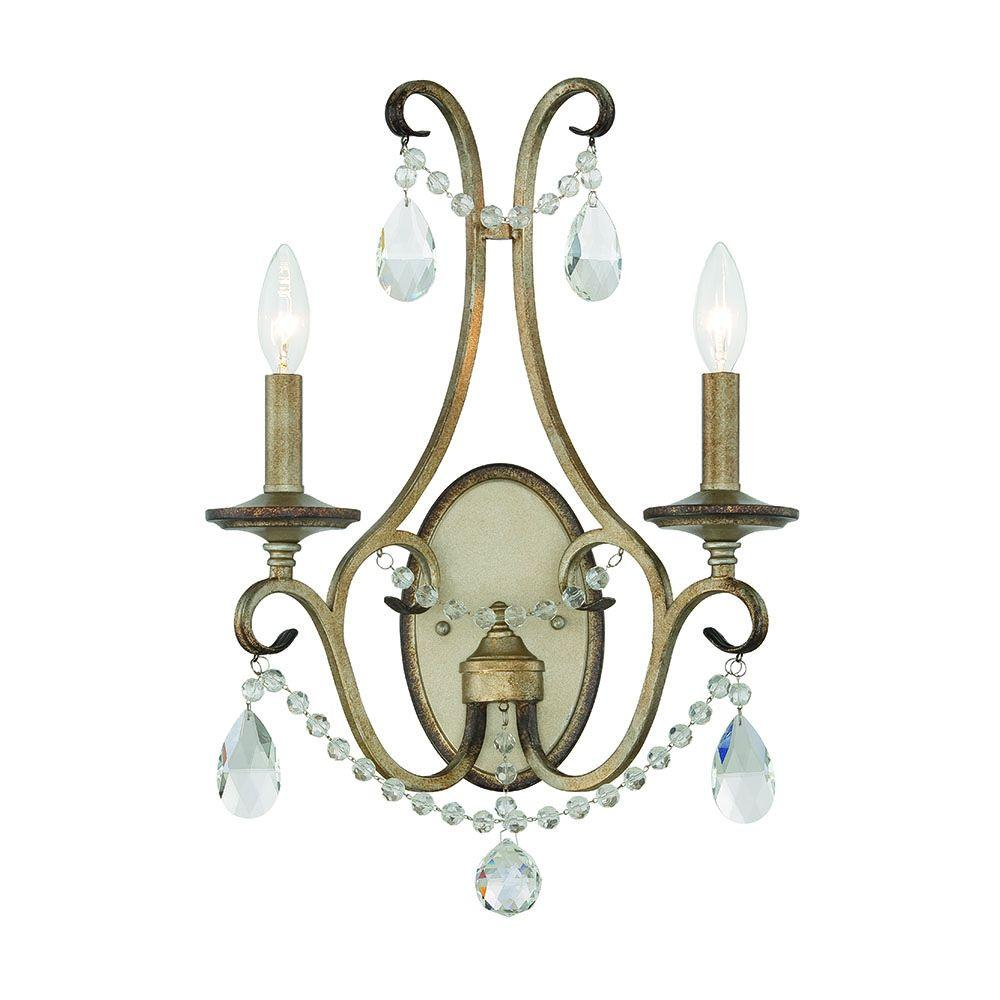 Gala 2-Light Argent Silver Interior Incandescent Bath Vanity Light