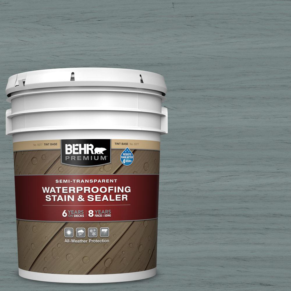 BEHR PREMIUM 5 gal. #ST-125 Stonehedge Semi-Transparent Waterproofing Exterior Wood Stain and Sealer