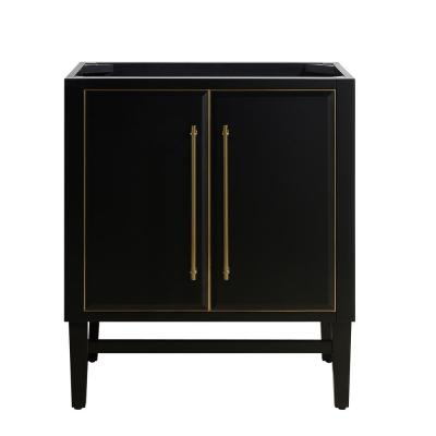 Mason 30 in. Bath Vanity Cabinet Only in Black with Gold Trim