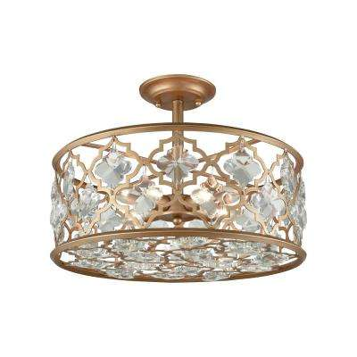 Armand 4-Light Matte Gold with Clear Crystal Semi-Flushmount