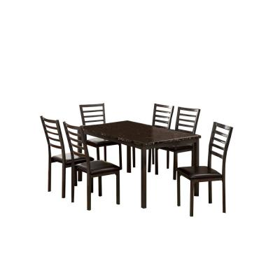 Colman Black 7-Piece 60 in. Dining Table Set with Assembled Chairs