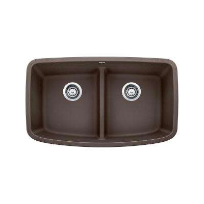 VALEA Undermount Granite Composite 32 in. Equal Double Bowl Kitchen Sink in Cafe Brown
