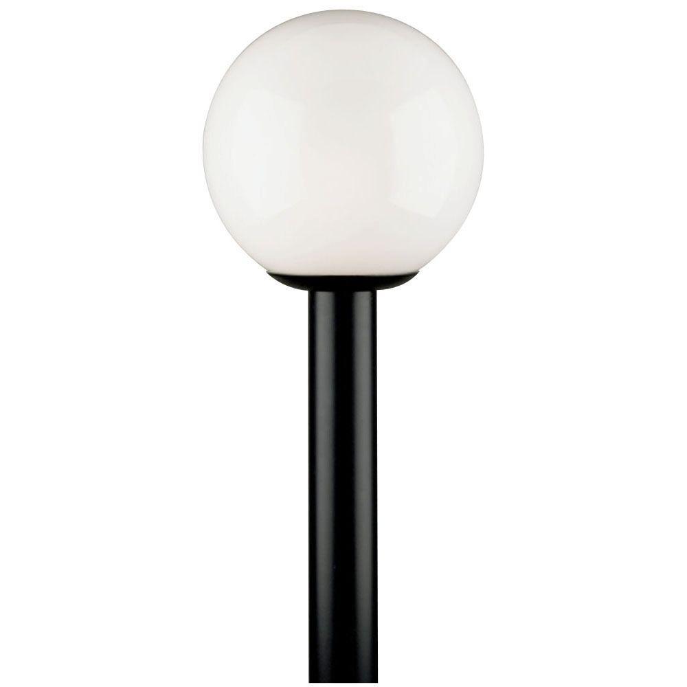 Westinghouse 1 Light Black Polycarbonate Post Top Exterior Lantern With White Acrylic Globe
