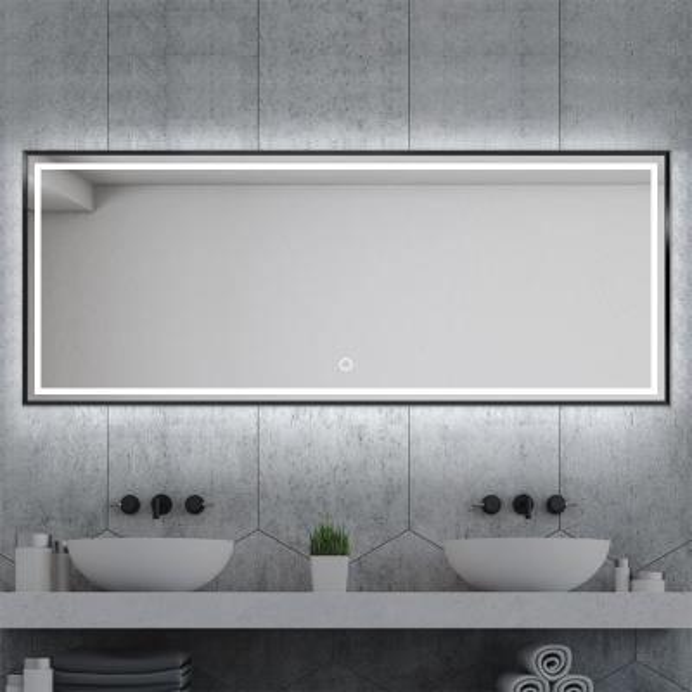 64.2 in. W x 21.3 in. H Black Metal Framed LED Single Bathroom Mirror/Floor MirrorMirror/Floor Mirror