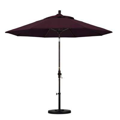 9 ft. Fiberglass Collar Tilt Patio Umbrella in Purple Pacifica