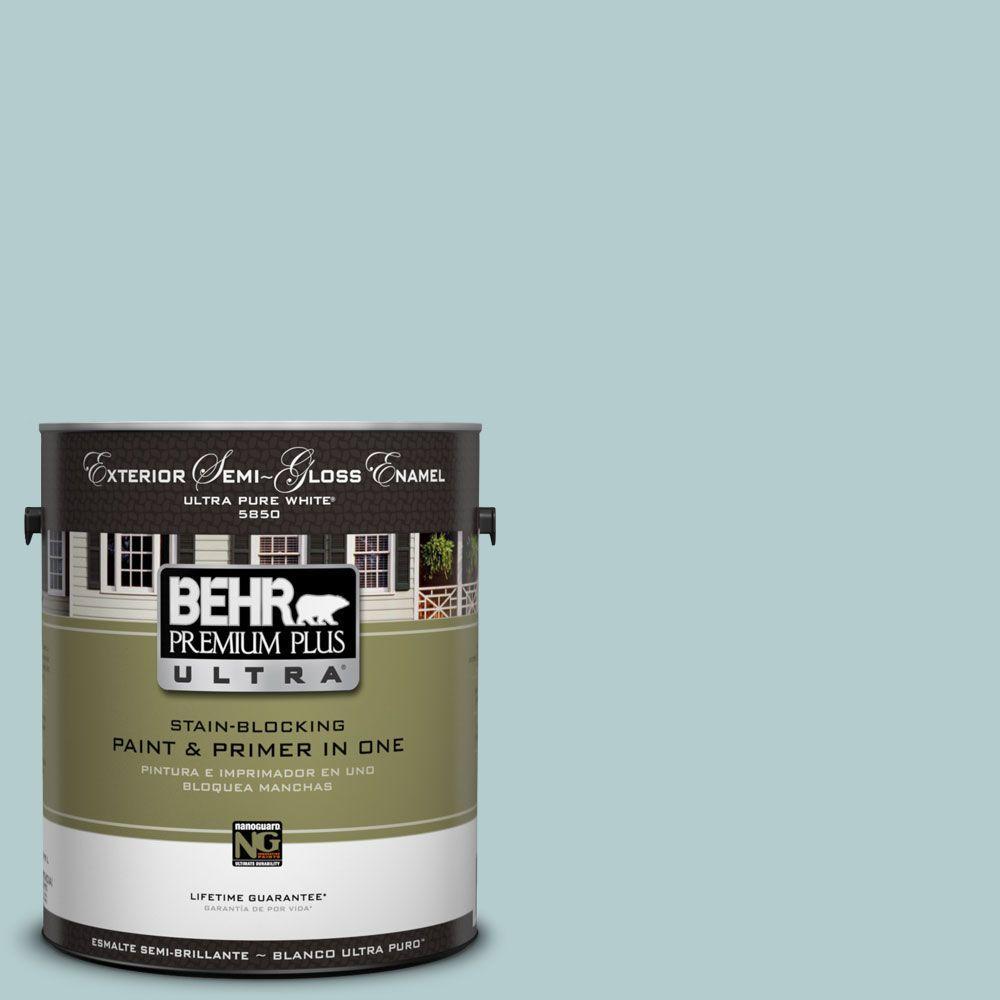 BEHR Premium Plus Ultra 1-gal. #UL220-8 Clear Pond Semi-Gloss Enamel Exterior Paint