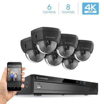 Plug & Play H.265 8-Channel 4K NVR 8MP Surveillance System with 6 Wired POE Dome Cameras with 98 ft. Night Vision, Black