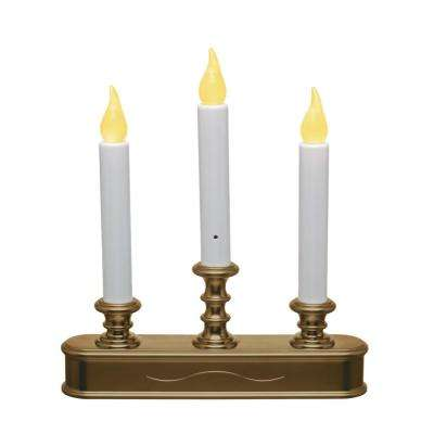 10.25 in. Antique Brass Amber LED Battery Operated Candle with Candelabra