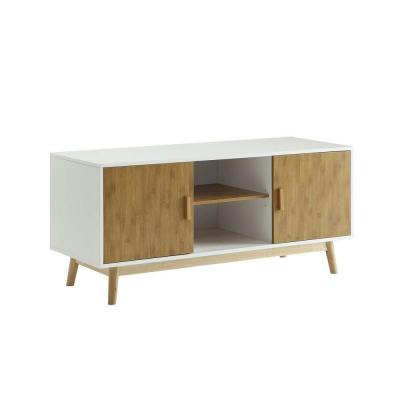 Oslo 18 in. White and Brown Particle Board TV Stand Fits TVs Up to 46 in. with Storage Doors