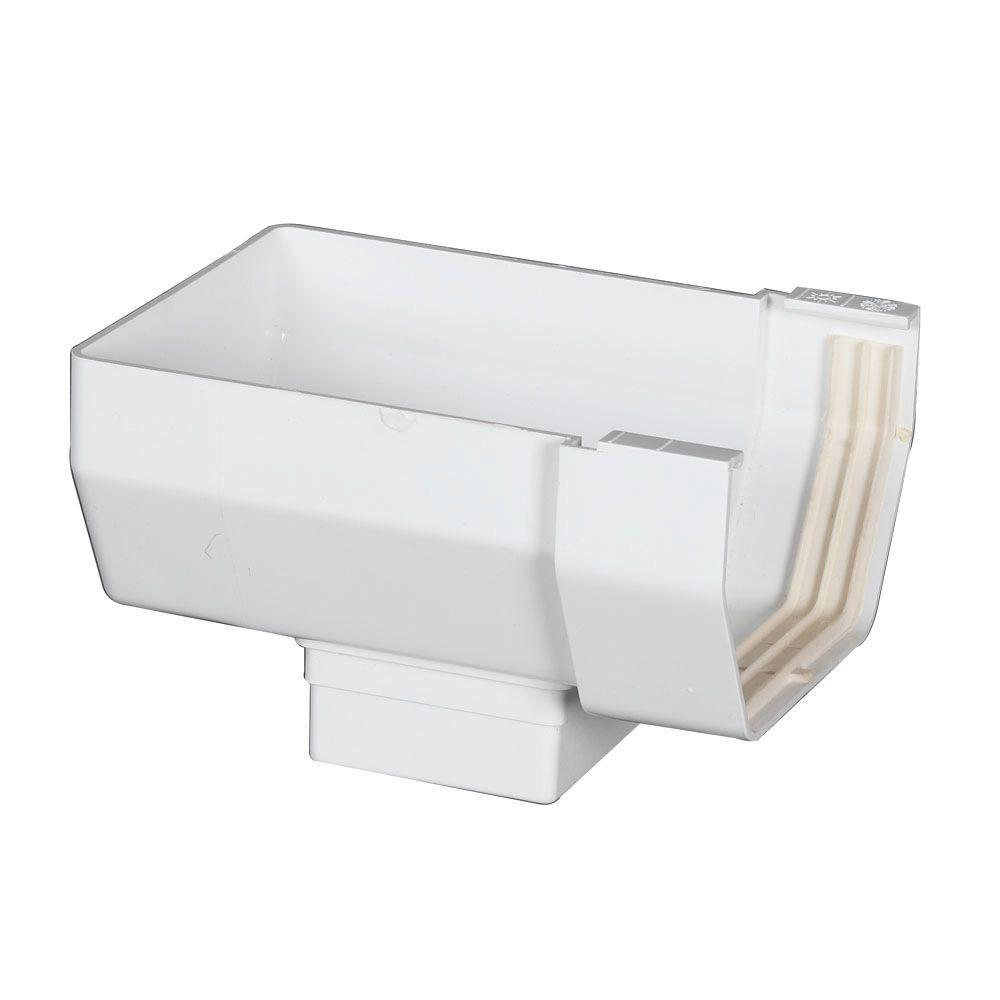 Amerimax Home Products 4 in. White Vinyl End With Drop