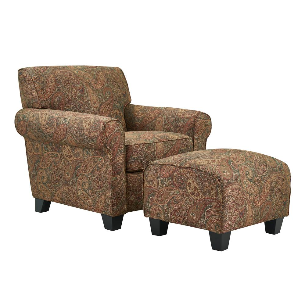 Handy Living Winnetka Arm Chair And Ottoman In Paisley