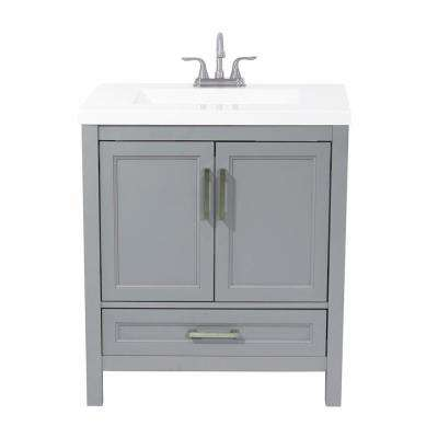 Salerno 31 in. Bath Vanity in Grey with Cultured Marble Vanity Top in White with White Basin