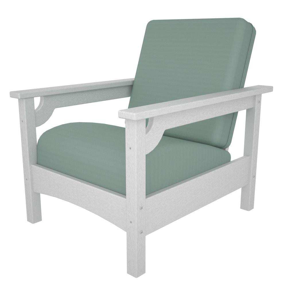 Polywood Club White All Weather Plastic Outdoor Chair With Sunbrella Spa Cushions