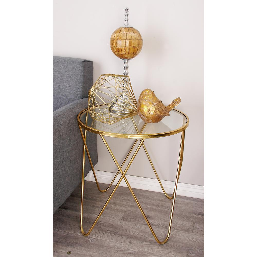 Clear Glass Round Accent Tables with Metallic Gold Iron Frame and
