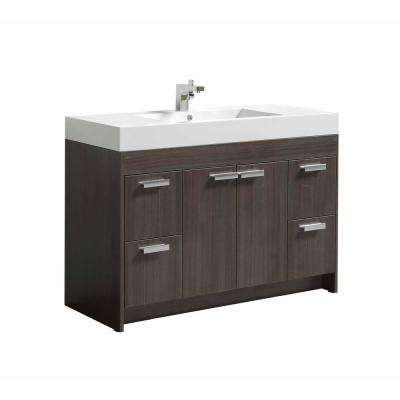 Lugano 48 in. W x 19 in. D x 34 in. H Vanity in Gray Oak with Acrylic Top in White with White Basin