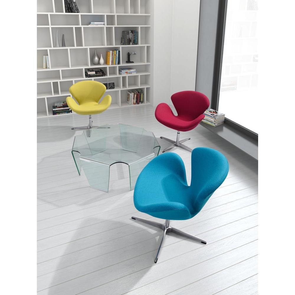 Pori Blue Polyfiber Arm Chair (Set of 2)