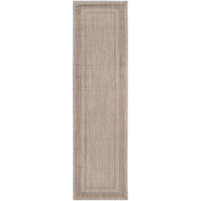 Courtyard Beige/Brown 2 ft. x 12 ft. Indoor/Outdoor Runner Area Rug