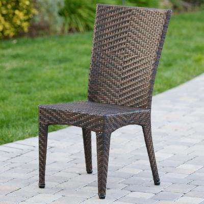 Brooke Multi Brown  Wicker Outdoor Dining Chair (Set of 2)