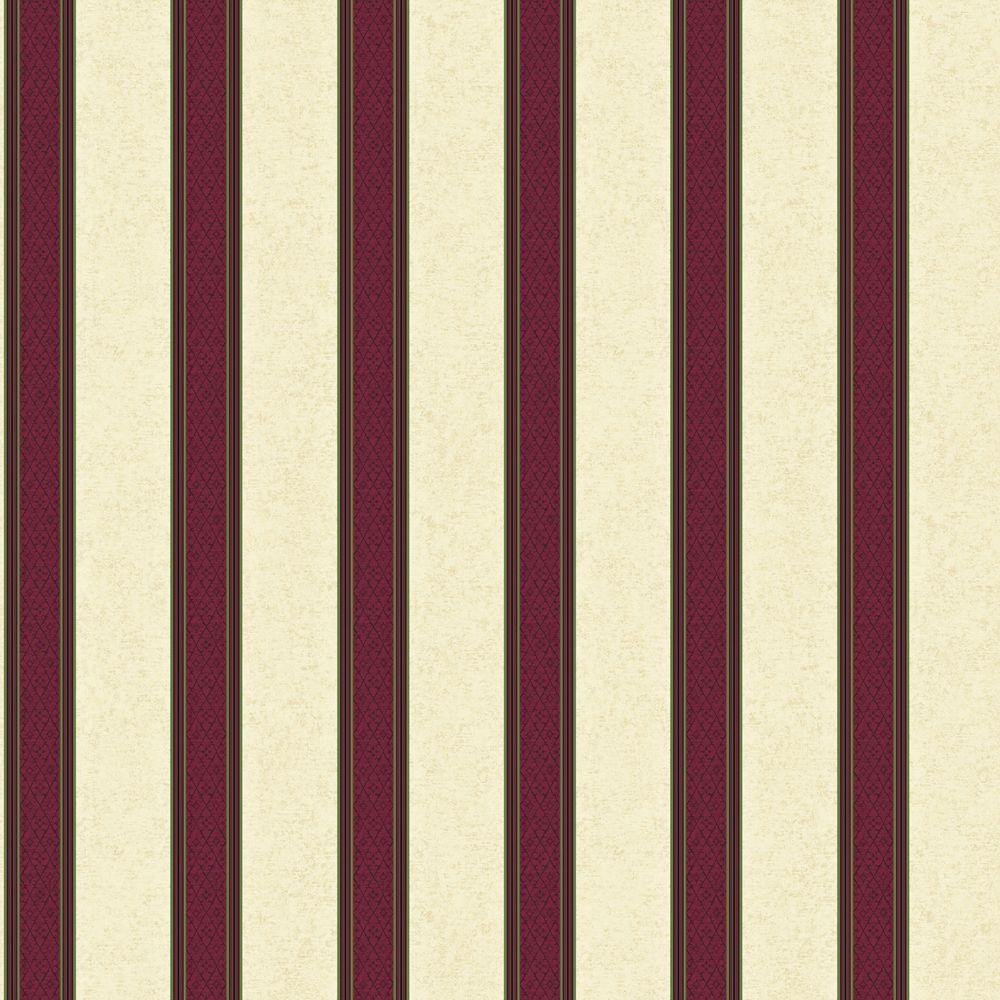 The Wallpaper Company 56 sq. ft. Purple Jewel Tone Damask Harlequin Stripe Wallpaper