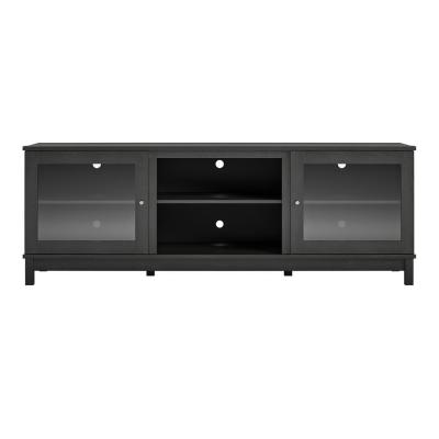 Andele 71 in. Black Oak Particle Board TV Stand Fits TVs Up to 70 in. with Storage Doors