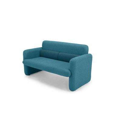 Ross Series Blue Woven Fabric Upholstered Modern Accent Loveseat Sofa with Matching Back Support Cushions