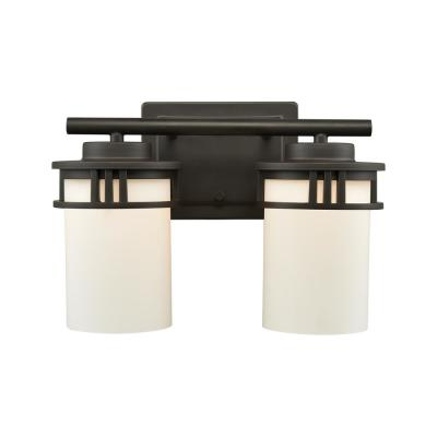 Ravendale 2-Light Oil Rubbed Bronze With Opal White Glass Bath Light