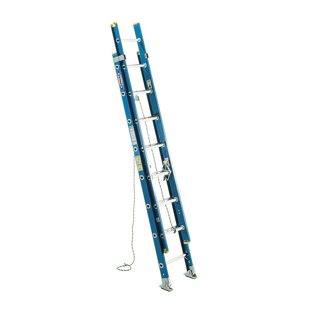 Werner 20 Aluminum Extension Ladder : Werner ft fiberglass d rung extension ladder with