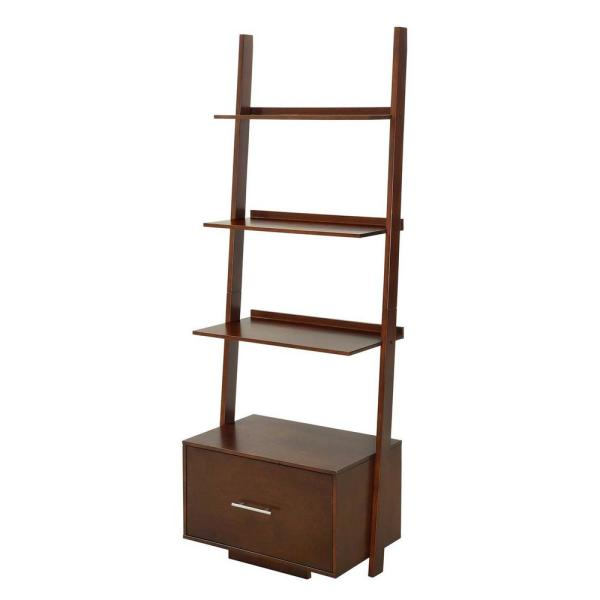 69 in. Espresso Wood 4-shelf Ladder Bookcase with Open Back