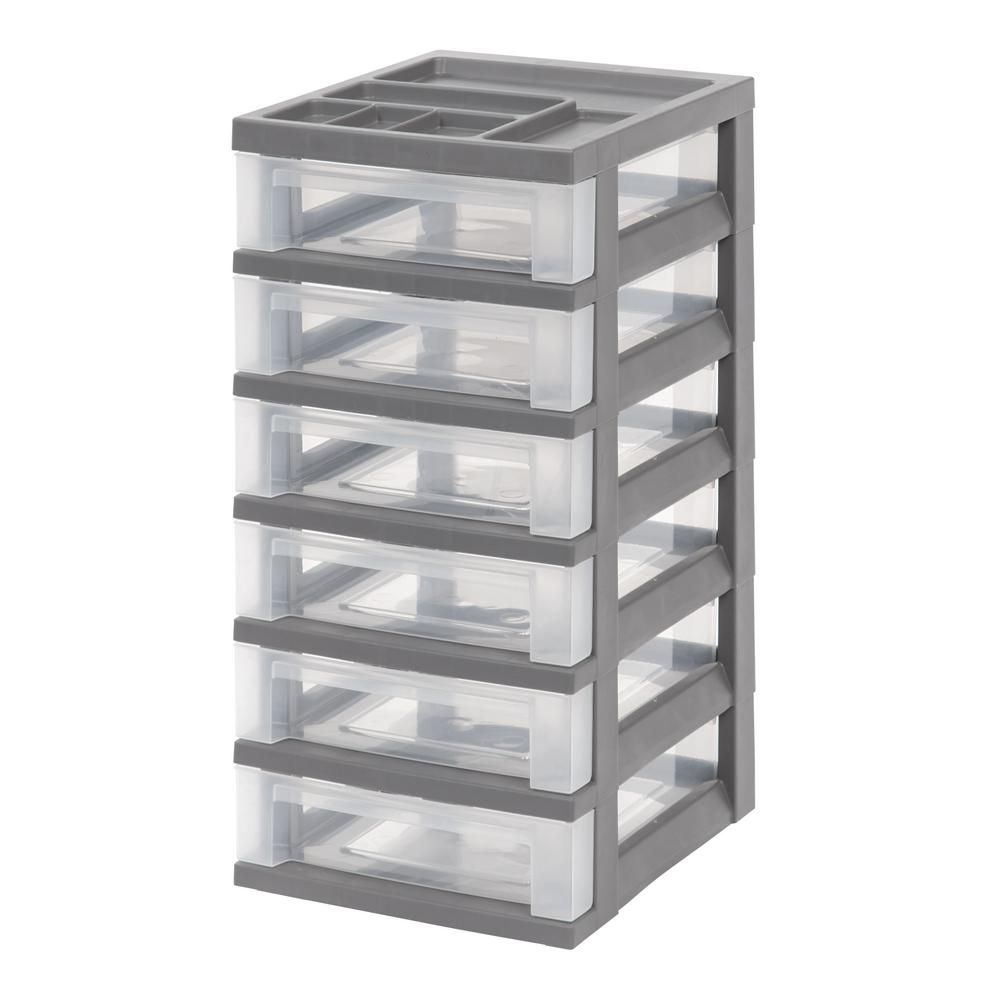 12.05 in. x 24.5 in. Gray 6-Drawer Storage Cart with Organizer