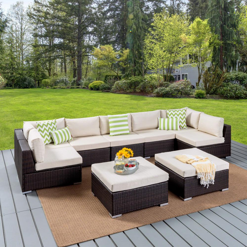 9 Piece Wicker Outdoor Sectional Set