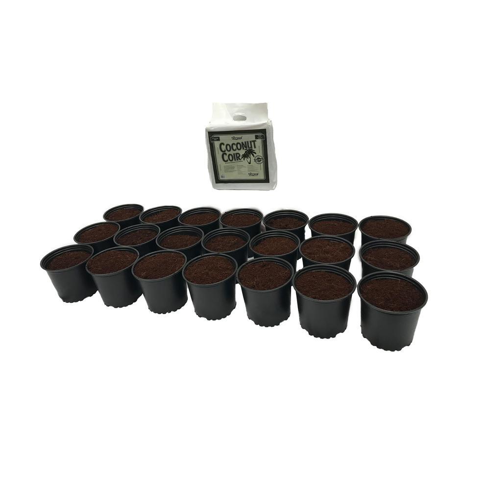 1 Gal. Plastic Nursery Pots 3.78 l with Coconut Coir Growing Media (21-Pack)
