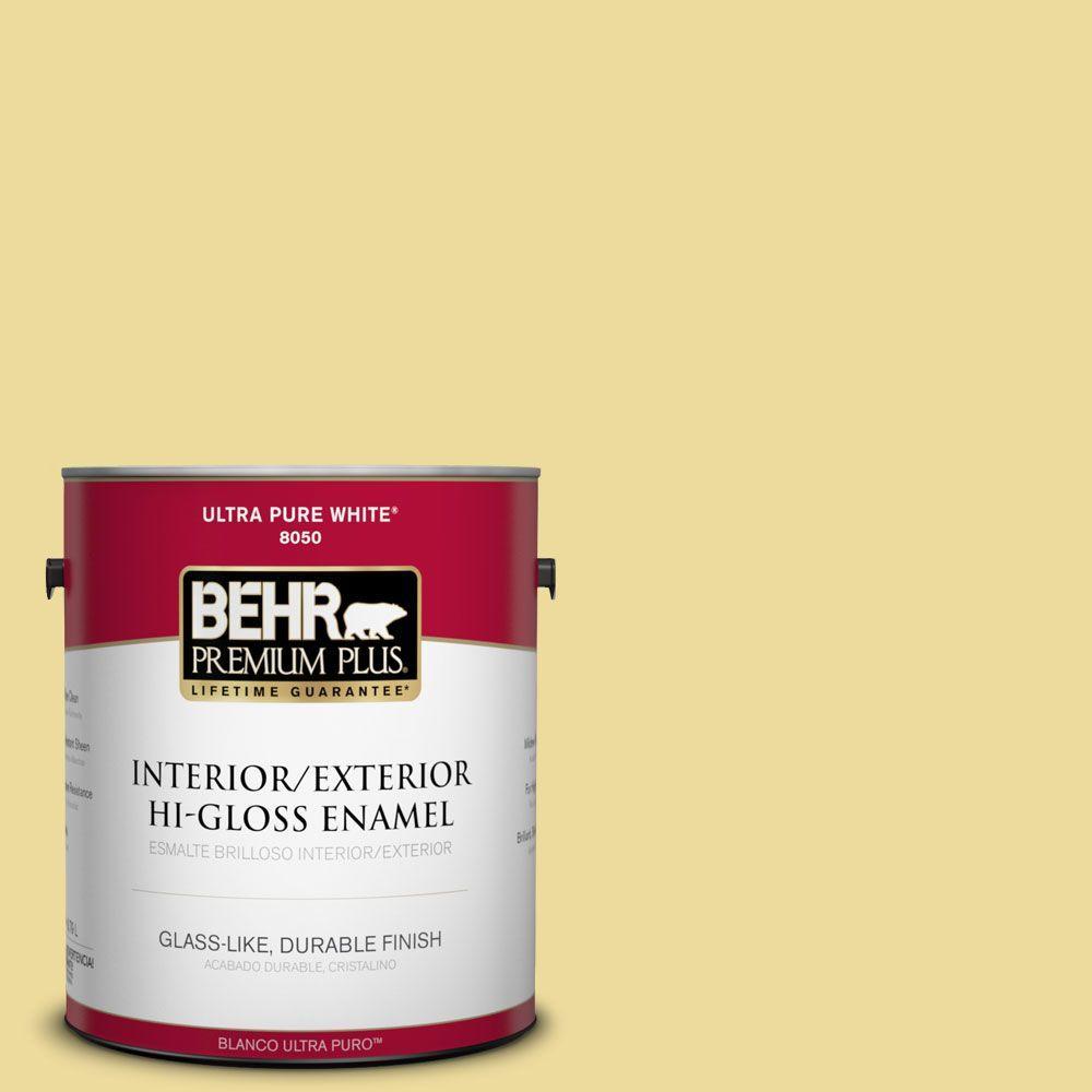 BEHR Premium Plus 1-gal. #P330-3 Pear Cider Hi-Gloss Enamel Interior/Exterior Paint