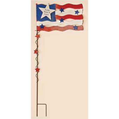 37 in. Metal Americana Flag With Stars Stake