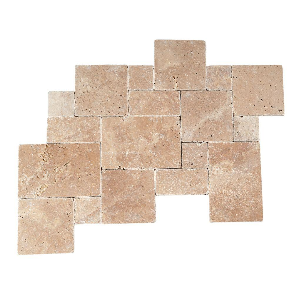Daltile travertine tile natural stone tile the home depot travertine inca brown blended paredon pattern natural stone floor and wall tile kit 6 sq dailygadgetfo Images