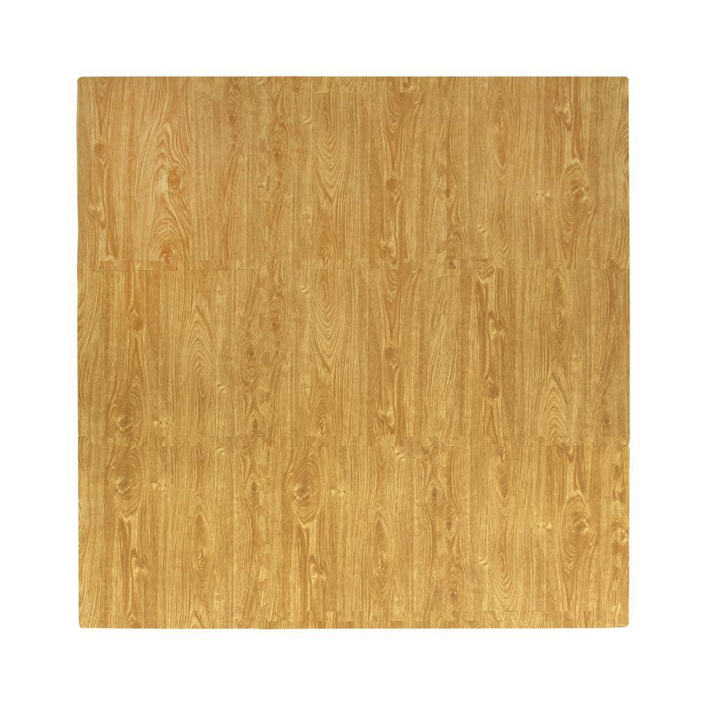 Wood Grain Oak 56 in. x 56 in. EVA Floor Mat Set