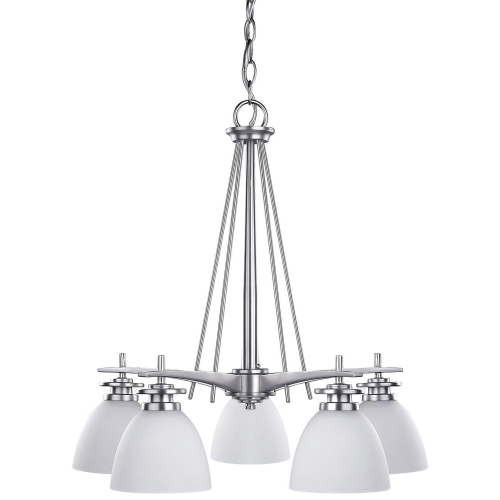 Canarm new yorker 5 light brushed pewter chandelier with flat opal canarm new yorker 5 light brushed pewter chandelier with flat opal glass shade arubaitofo Images