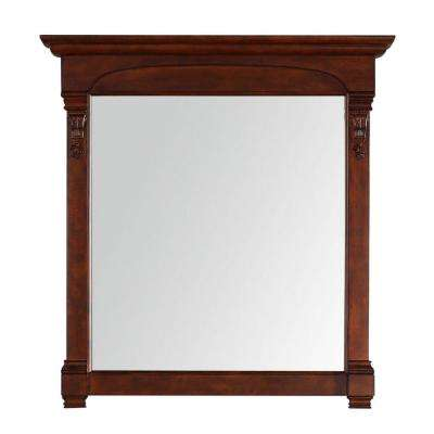 Brookfield 40 in. W x 42 in. H Framed Wall Mirror in Warm Cherry