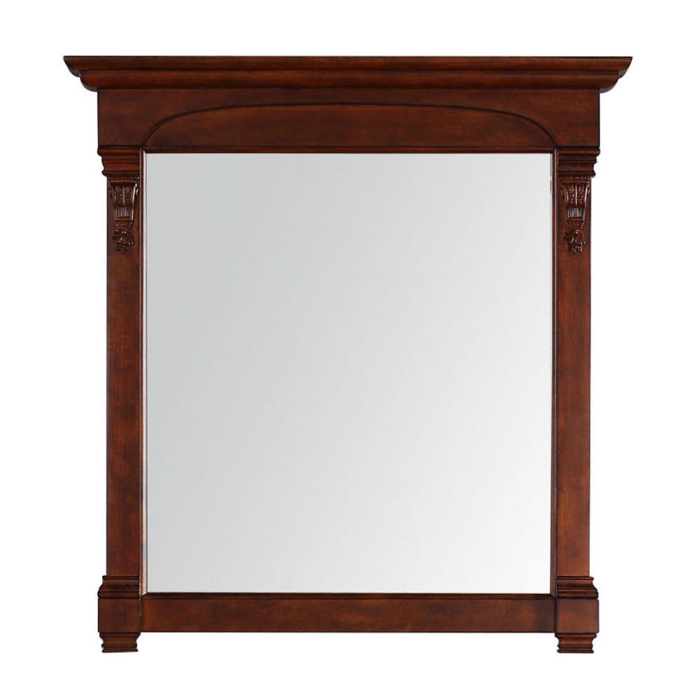 Brookfield 40 in. W x 42 in. H Framed Wall Mirror in Warm Cherry
