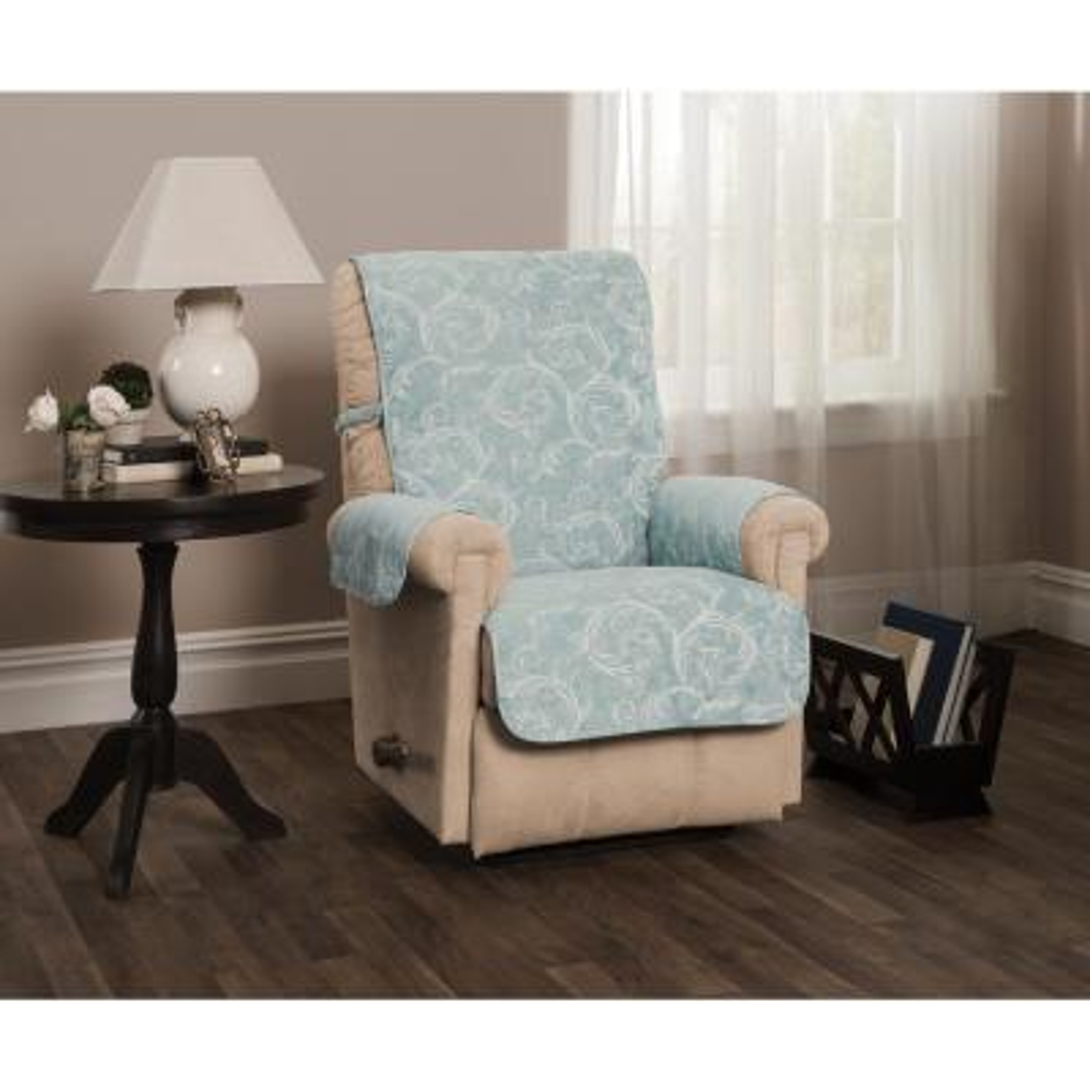 Lemont Blue Scroll Jacquard Recliner Furniture Cover Slipcover