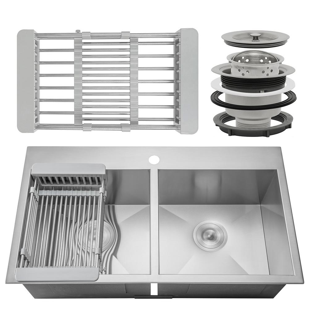 Admirable Akdy Handcrafted All In One Drop In Stainless Steel 33 In X 22 In X 9 In Double Bowl Kitchen Sink With Tray And Drain Complete Home Design Collection Lindsey Bellcom