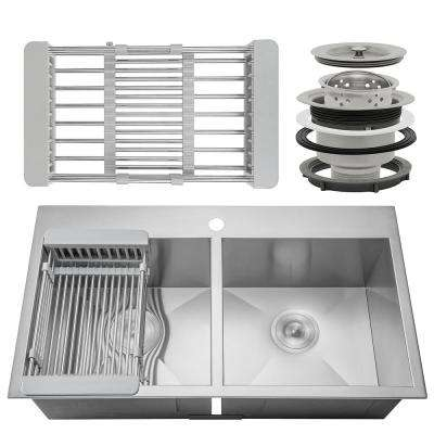 Handcrafted All-in-One Drop-In Stainless Steel 33 in. x 22 in. x 9 in, Double Bowl Kitchen Sink with Tray and Drain