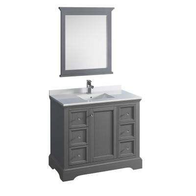 Windsor 40 in. W Traditional Bathroom Vanity in Gray Textured Quartz Stone Vanity Top in White with White Basin, Mirror