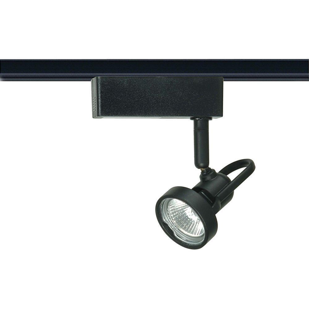 1-Light MR16 12-Volt Black Cast Ring Track Lighting Head