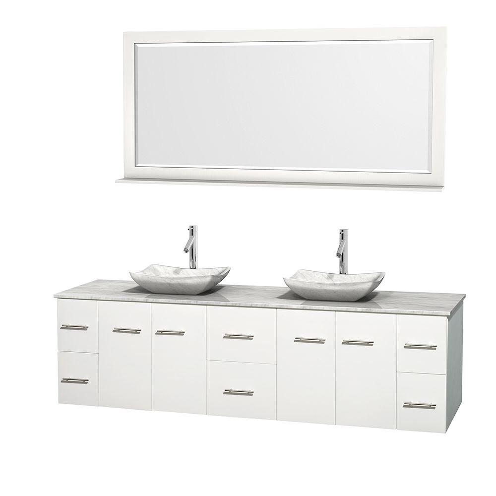 Wyndham Collection Centra 80 in. Double Vanity in White with Marble Vanity Top in Carrara White, Marble Sinks and 70 in. Mirror