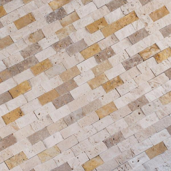 Msi Mixed Splitface 12 In X 12 In X 10 Mm Textured Travertine Mesh Mounted Mosaic Tile 1 Sq Ft Mixtr 1x2sf The Home Depot